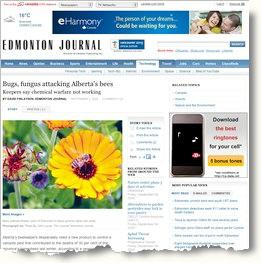 Edmonton Journal story on bees - September 2009